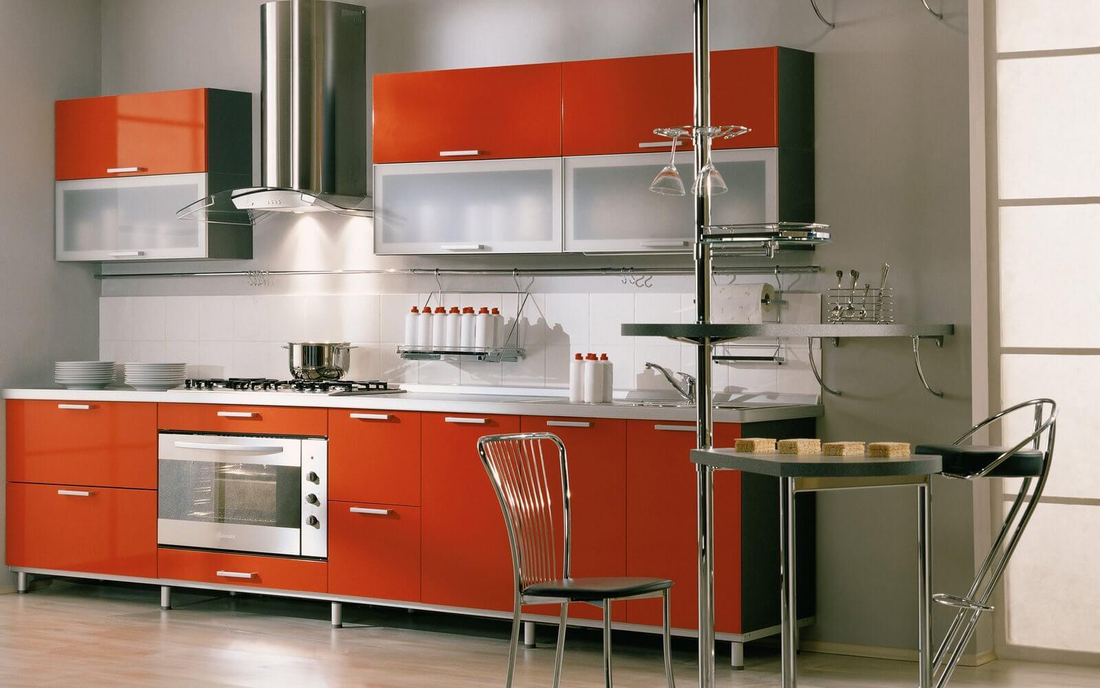 кухни в оранжевых тонах